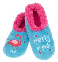 Pretty Flamingo Large 6-7  UK Snoozies Creature Comforts Slippers